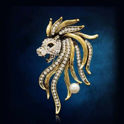 FashionMoon Lion Head Brooch Pin