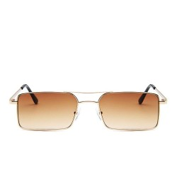 Fashion Moon Vintage Retro Small Rectangular Framed Trendy Degrade Brown Glazed Sunglasses