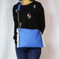 Tasarım Püsküllü Kot Kumaş Free Bag Model Çanta