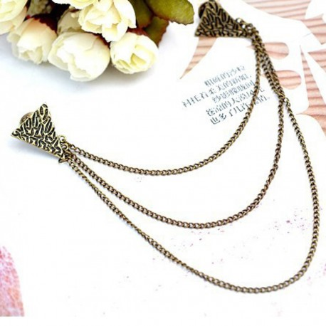 FashionMoon Triangle Model Chain Collar Pin with Antique Pattern