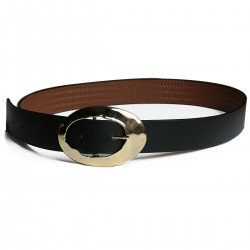 Black Color Style Tattoo Golden Yellow Buckle Belt