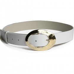 White Color Style Tattoo Golden Yellow Buckled Belt