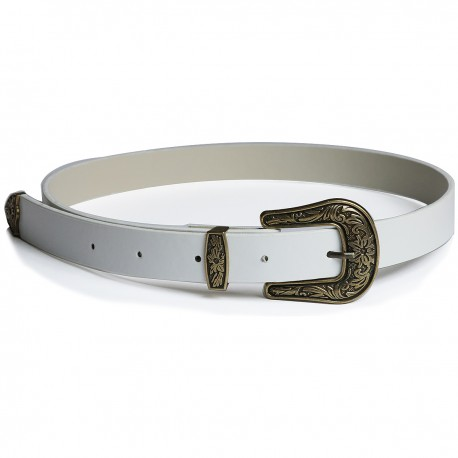White Leather Antique Gold Buckle Belt