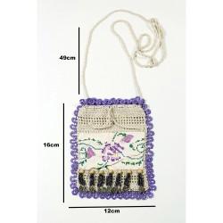 Design Hand Made Purple Antique Canvas Pouch