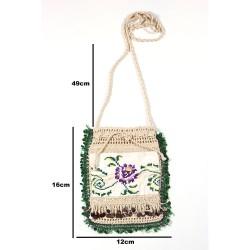 Design Hand Made Green Beaded Antique Crossbag