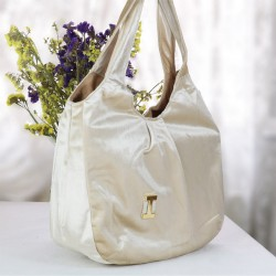 Design Cream Velor Velvet Bag