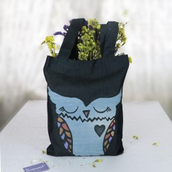 Design Navy Blue Jeans Owl Color Printed Bag
