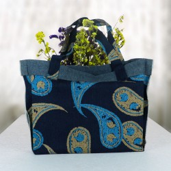 Blue Shawl Patterned Jeans Beach Bag 4