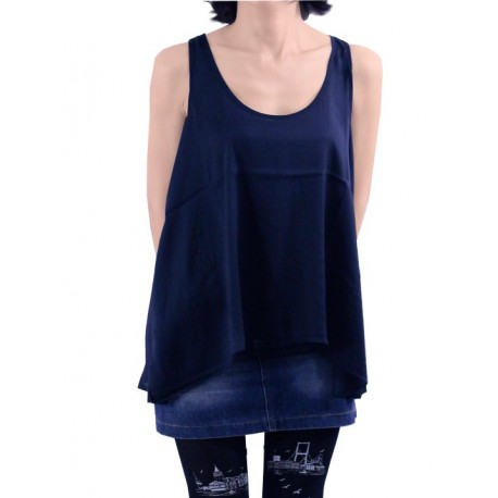 Mango Buliz Wakiki Navy Sleeveless Blouse