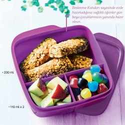 Purple Nutrition Square Box with Tupperware Compartment 550ml