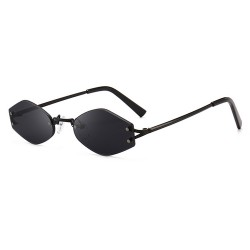 Fashion Moon Hexagon Cat Model Black Color Sunglasses