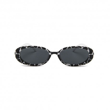 Fashion Moon Style Black and White Leopard Patterned Sunglasses