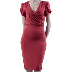 Mango Dress Cruci Croise Neck Red