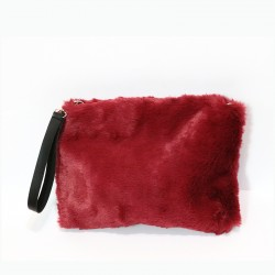 Fashion Moon Red Color Plush Model Portfolio Bag
