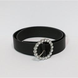Black Artificial Leather Stone Model Buckle Belt