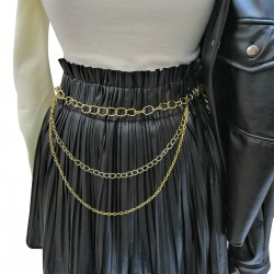 Punk Model Egirle Boy Gold Color Chain Belt