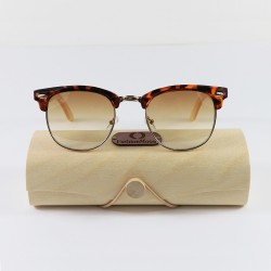 Fashion Moon Brown Retro Half Frame With Bamboo Handle