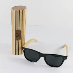 Fashion Moon Bamboo Handle Black Top Gun Frame Sunglasses
