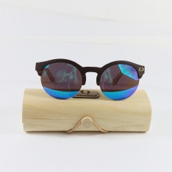 Fashion Moon Wooden Round Half Frame Blue Mirrored Sunglasses