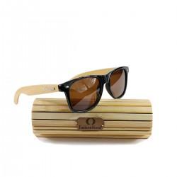 Fashion Moon Bamboo Handle Blue Top Gun Frame Blue Mirrored Sunglasses