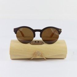 Fashion Moon Wooden Round Half Sunglasses