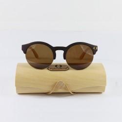 Fashion Moon Wooden Yuvarlak Yarım Güneş Gözlüğü