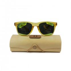 Fashio Moon Bamboo Handle Yellow Ball Gun Frame Sunglasses