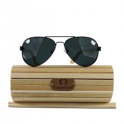 Fashion Moon Bamboo Handle Pilot Model Black Metal Framed Black Glass Sunglasses
