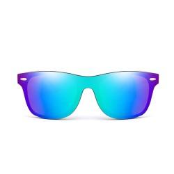 Fashion Moon Bamboo Handle Pilot Model Metal Framed Green Mirror Glass Sunglasses