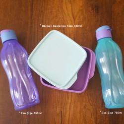 Tupperware Bölmeli Lila İki ik Renkli Eco Şişe Beslenme Seti