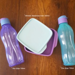 Tupperware Divided Lila Two Two Color Eco Bottle Nutrition Set