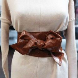 Brown Thick Tie Belt