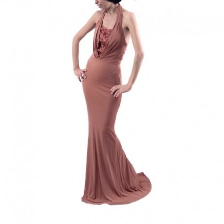 Mango Gece Elbisesi Fhl Lafeye Kahverengi Uzun
