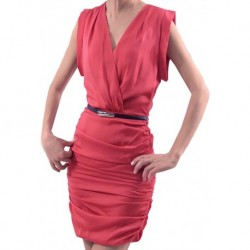 Mango Pras Saten Kırmızı Kısa Elbise