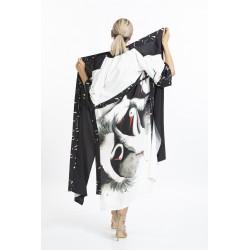 Stork Patterned Long Kimono