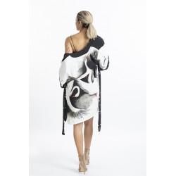 Stork Patterned Short Kimono