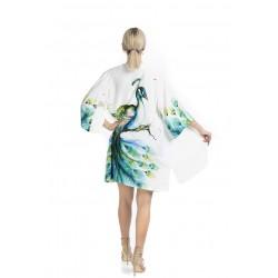 Peacock Pattern Short Kimono