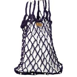 Mercerized Bag Organic Eco White Glass Beaded Purple Bag