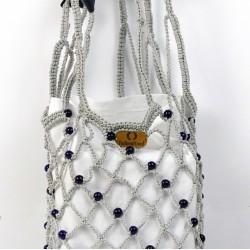 Vintech File Mercerized Bag Organic Dark Blue Glass Beaded Gray Rope Bag