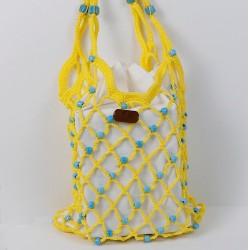 Vintech File Mercerized Bag Organic Blue Glass Beaded Yellow Rope Bag