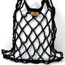 Vintech Mercerized Bag Organic Blue Glass Beaded Black Bag