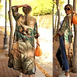 Parrot Pattern Long Kimono