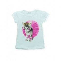 Kedili Beyaz Çocuk Tişörtü