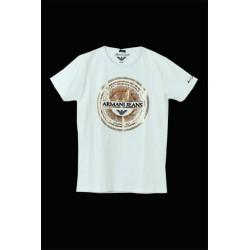 Armani Jeans Beyaz Daire Desenli Tişört