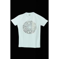 Calvin Klein Beyaz Daire Yazılı Tişört