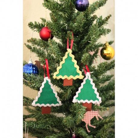Christmas Tree Ornament Triple Frilly Pine Tree
