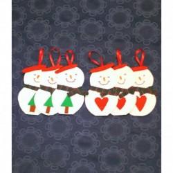 Handmade Felt Snowman Christmas Ornament Six Set