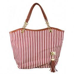Yazlık Kumaş Çanta Kırmızı Beyaz
