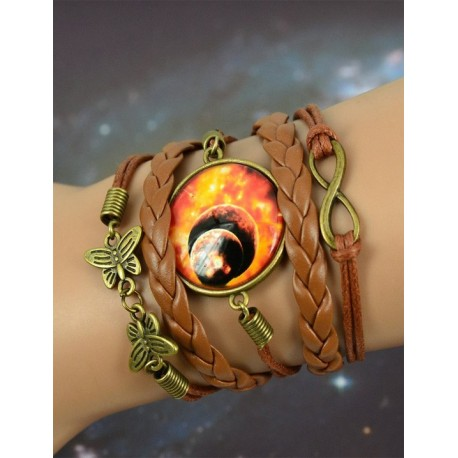 Galaxy Double Red Leather Bracelet