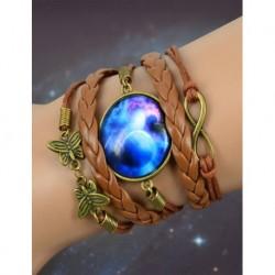 Galaxy Blue Leather Bracelet